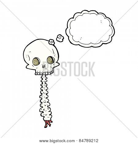 spooky cartoon skull and spine with thought bubble