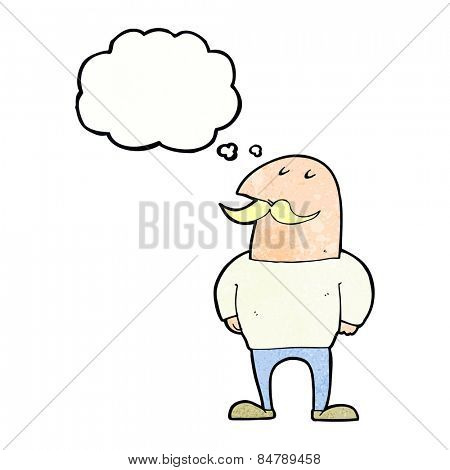 cartoon bald man with mustache with thought bubble