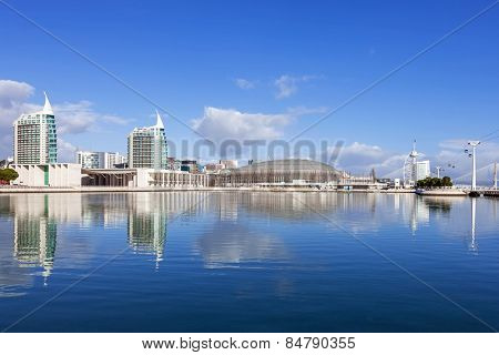 Lisbon, Portugal - February 01, 2015: Portuguese Pavilion, Atlantico / MEO Arena, Sao Gabriel / Rafael Towers across the Olivais Dock; Vasco da Gama Tower/ Myriad Hotel on the right. Park of Nations