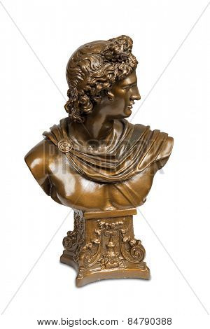 Bust sculpture of Belvedere Apollo isolated over white with clipping path.