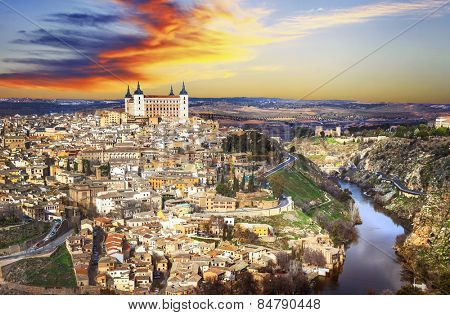 beautiful sunset over old Toledo, Spain