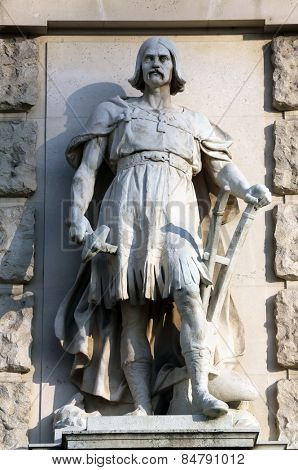 VIENNA, AUSTRIA - OCTOBER 10: Johann Koloc: Slav, on the facade of the Neuen Burg on Heldenplatz in Vienna, Austria on October 10, 2014.