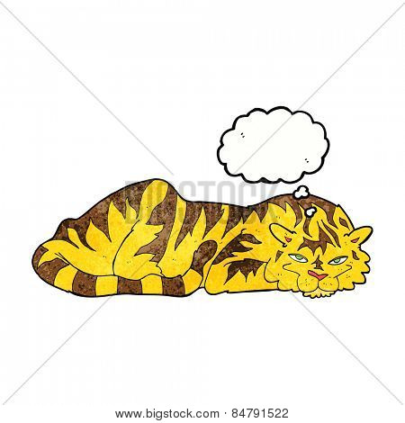 cartoon resting tiger with thought bubble
