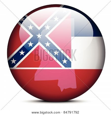 Map On Flag Button Of Usa Mississippi State