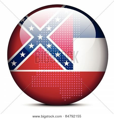 Map With Dot Pattern On Flag Button Of Usa Mississippi State