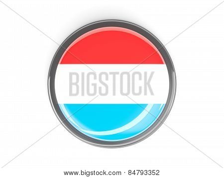 Round Button With Flag Of Luxembourg