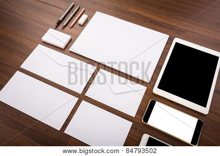Blank Template. Consist of Business cards, letterhead a4, Tablet PC, eraser ,pen,pencil,envelop es and smart phones