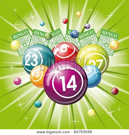 Bingo or lottery balls and cards on green background