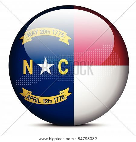 Map With Dot Pattern On Flag Button Of Usa North Carolina State