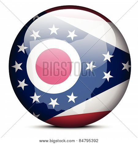 Map On Flag Button Of Usa Ohio State