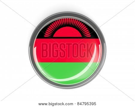 Round Button With Flag Of Malawi
