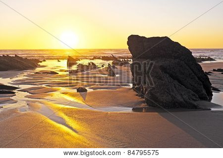 Natural rocks at the atlantic ocean in Portugal at twilight