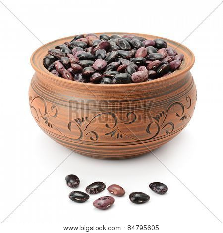 beans in pot isolated on white