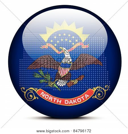 Map With Dot Pattern On Flag Button Of Usa North Dakota State
