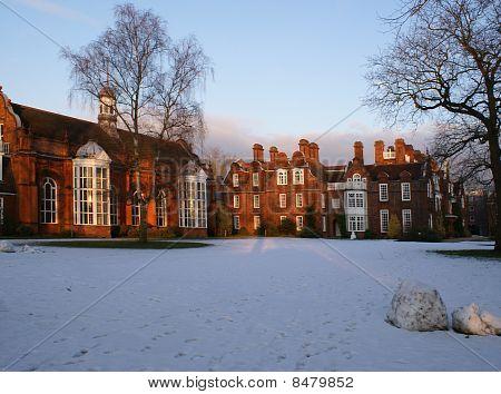 Newnham College Hall in winter