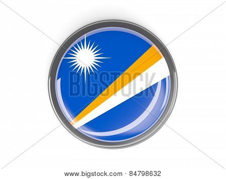 Round Button With Flag Of Marshall Islands