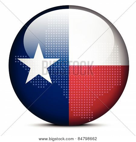 Map With Dot Pattern On Flag Button Of Usa Texas State