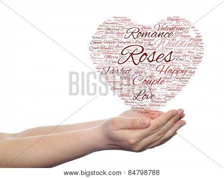 Concept or conceptual red wordcloud text in shape of heart symbol in hands isolated on white background, metaphor to love, romance, passion, romantic, emotion, marriage, valentine, desire or affection