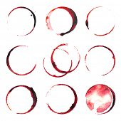 foto of merlot  - 9 wine stains traces over white background - JPG