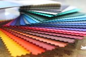 Fabric rainbow color swatch book poster