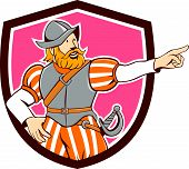 image of conquistadors  - Illustration of a spanish conquistador pointing looking to side set inside shield on isolated background done in cartoon style - JPG