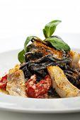 foto of black-cherry  - Black Spaghetti with Sea Bass and Batarga  - JPG