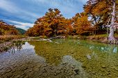 pic of crystal clear  - Beautiful Fall Foliage Surrounding the Gravelly Crystal Clear Frio River Texas - JPG