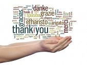 pic of appreciation  - Concept or conceptual abstract thank you word cloud held in hands different language - JPG