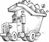 stock photo of dump-truck  - Doodle Sketch Dump Truck Vector Illustration Art - JPG