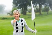 picture of ladies golf  - Lady golfer holding flag on a foggy day at the golf course - JPG