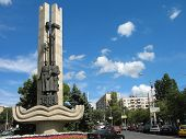 Monument of city establish in Volgograd Russia  poster