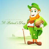 stock photo of pot gold  - Happy leprechaun holding gold coins pot on nature background for St - JPG