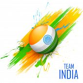 pic of cricket ball  - illustration of cricket ball in grungy India background - JPG
