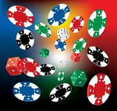 pic of nouns  - vector Illustration of Poker Chips and dice on blurry background  - JPG