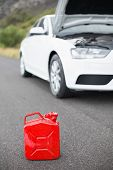 picture of breakdown  - A petrolcan next to car after a breakdown at the side of the road - JPG