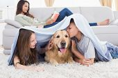 foto of brother sister  - Sister looking at brother kissing dog under shawl while mother relaxing on sofa at home - JPG
