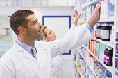 picture of team  - Team of pharmacists looking at medicine at the hospital pharmacy - JPG
