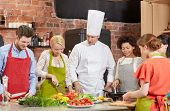 stock photo of cook eating  - cooking class - JPG