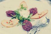 image of tartar  - Beef tartare with arugula and crunchy bread - JPG