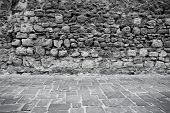 stock photo of stone floor  - Old ancient stone wall and floor texture background - JPG