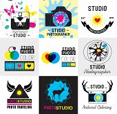 foto of mass media  - Set of vintage photo studio logo, labels, badges and design element. Vector collection of photography logo templates.