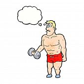 picture of weight lifter  - cartoon man lifting weights with thought bubble - JPG
