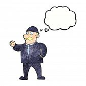 stock photo of bowler hat  - cartoon sensible business man in bowler hat with thought bubble - JPG