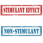 picture of stimulating  - Set of grunge rubber stamps with text Stimulant Effect and Non - JPG
