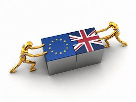 stock photo of struggle  - Political or financial concept of the European Union struggling and finding a solution with the United Kingdom - JPG