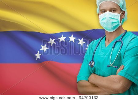 Surgeon With Flag On Background Series - Venezuela