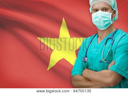 Surgeon With Flag On Background Series - Vietnam
