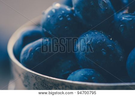 Old Bowl Of Fresh Organic Blueberries On Wooden Table.soft Focus, Retro Filter.