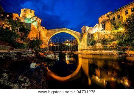 Mostar city night view