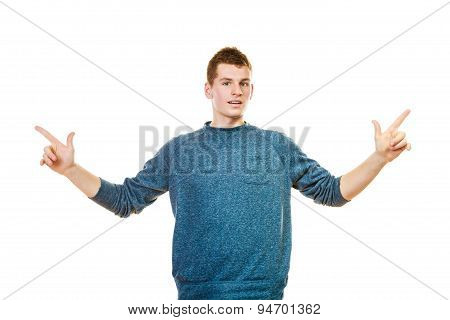 Man Showing Copy Space Pointing With Fingers